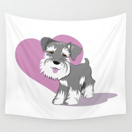Miniature Schnauzer Puppy Dog Adorable Baby Love Wall Tapestry