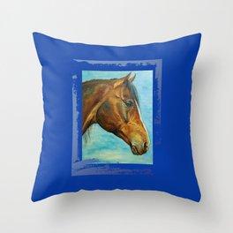 Princess Blue - Arabian Horse portrait Throw Pillow