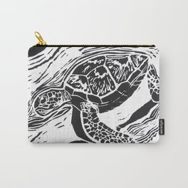 green turtle lino print Carry-All Pouch
