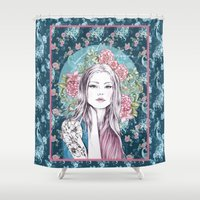gemma Shower Curtains featuring LILLY by Gemma Hodgson Design