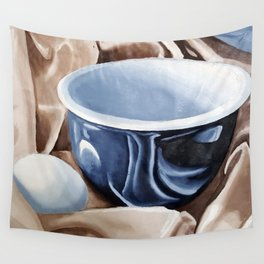 Oil paint on paper painting still life of and egg and a bowl Wall Tapestry
