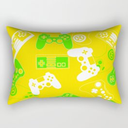 Video Games green on yellow Rectangular Pillow