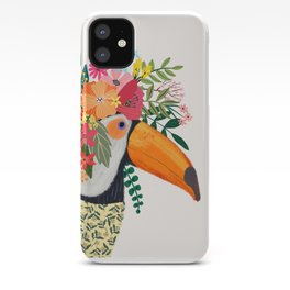 Toucan with flowers on head iPhone Case