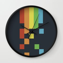 1980s Colorful Vintage Bitmap Pixel Wall Clock