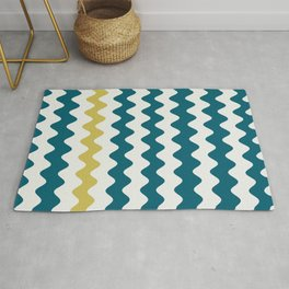 Off White and Yellow Wavy Vertical Rippled Stripes Accents to Sherwin Williams Trending Colors of 2019 Oceanside Dark Aqua Blue SW 6496 Rug