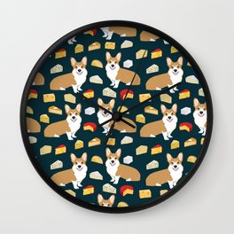 corgi cheese lover - edam, brie, cheddar, camembert, french food, food, cute dog Wall Clock