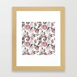 Modern hand painted ivory purple pink watercolor roses Framed Art Print