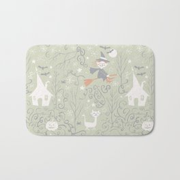 Little witch flying back home in Halloween Bath Mat