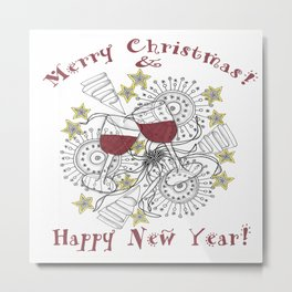 Merry Christmas & Happy New Year - Zentangle Illustration Metal Print