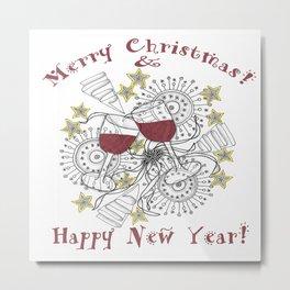 Merry Christmas & Happy New Year - Zentangle Illustration Metal Print