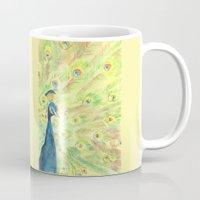 peacock Mugs featuring Peacock by Annie Mason