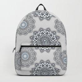 Mandala pattern white grey Backpack