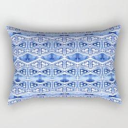 Watercolor blue indigo triangles Rectangular Pillow