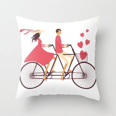 Love Couple riding on the bike Throw Pillow