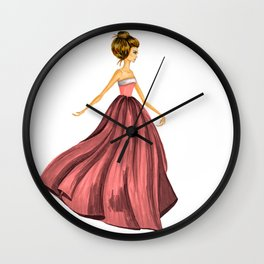 GIRL - Lady In Red - BLONDE - watercolor Wall Clock