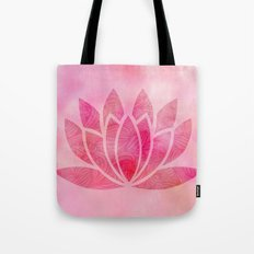 Watercolor Lotus Flower Yoga Zen Meditation Tote Bag