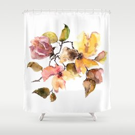 Fall leaves. Watercolor flowers. Vintage florals. Shower Curtain