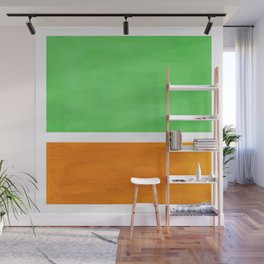 Pastel Mint Green Yellow Ochre Rothko Minimalist Mid Century Abstract Color Field Squares Wall Mural