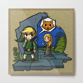 Legend of Zelda Wind Waker Meow T-Shirt Metal Print