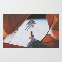 Camping in space Rug