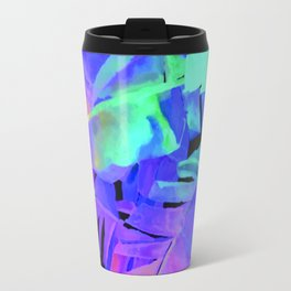 Pop Art Neon Leaf Pattern No. 1 Travel Mug