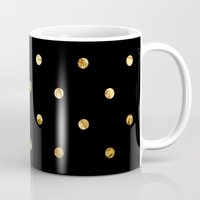 black and gold Mugs featuring Black & Gold by The Wellington Boot