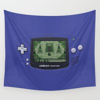 gameboy Wall Tapestries featuring Classic Gameboy Zelda Link by Electra