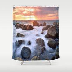 Rocky Shore Seascape Sunset Shower Curtain