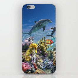 Coral Reef and Dolphins iPhone Skin