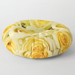 soft yellow roses close up Floor Pillow