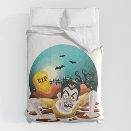 Halloween Zombies Coming Out Grave Comforters