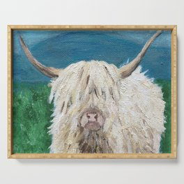 A Sweet Shaggy Highland Coo Serving Tray