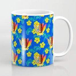 Surfboards And Tiki Mask Pattern Coffee Mug