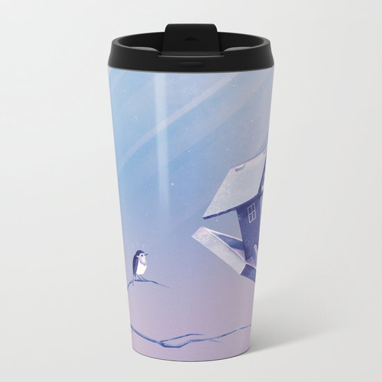 Freezing Bird...house Metal Travel Mug