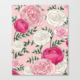 Rose Florals and Stems in Blush Canvas Print