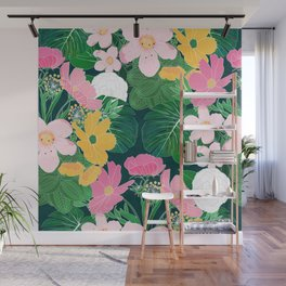 Stylish exotic floral and foliage design Wall Mural