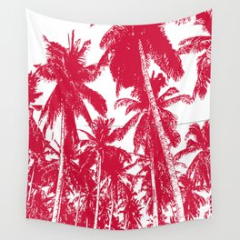 Palm Trees Design in Red and White Wall Tapestry