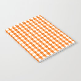 Classic Pumpkin Orange and White Gingham Check Pattern Notebook