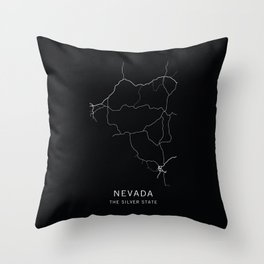 Nevada State Road Map Throw Pillow