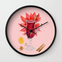 Mulled Wine watercolor Wall Clock