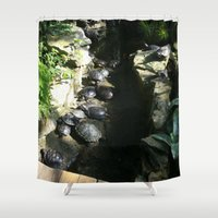 turtles Shower Curtains featuring turtles  by Katie A.M.G
