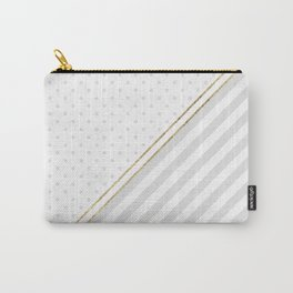 Geometric pale gray white gold foil polka dots Carry-All Pouch