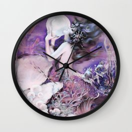 Mermaid with Pearl Henry Clive Purple Pink Wall Clock