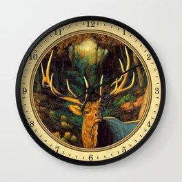 Bull Elk in Autumn Wall Clock