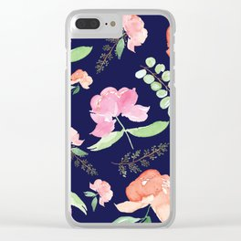 Peonies Navy Blue Clear iPhone Case
