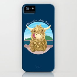 Scottish Highland Cow With Ocean Salty Hair iPhone Case
