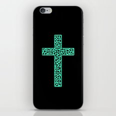 Mint Leopard Cross iPhone Skin