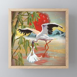 Stork and Baby Framed Mini Art Print