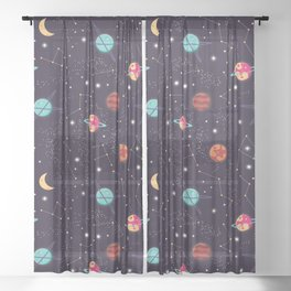 Universe with planets and stars seamless pattern, cosmos starry night sky 004 Sheer Curtain