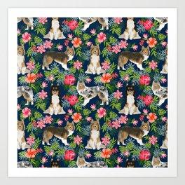 Sheltie shetland sheepdog hawaii floral hibiscus flowers pattern dog breed pet friendly Art Print